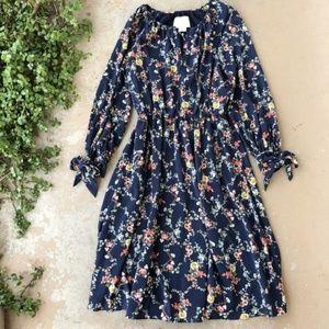 Gal Meets Glam Navy Floral Blouson Midi Dress